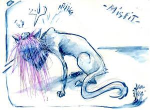 Inktober 2019 - Day 18 : Misfit Cat Wig