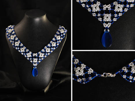 Elegant Blue Lace Necklace