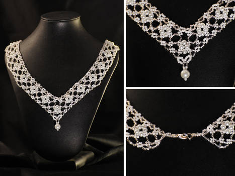 White Lace Wedding Necklace