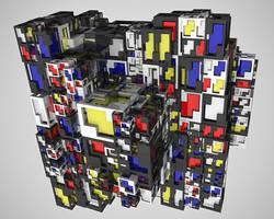 Mondrian cubes mixed up
