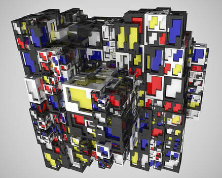 Mondrian cubes mixed up