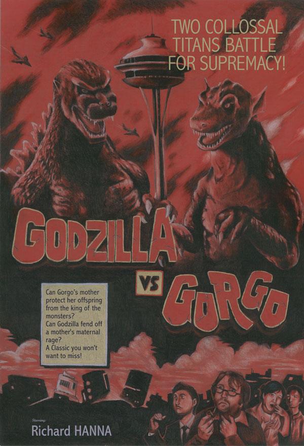 Godzilla Vs. Gorgo Poster by KillustrationStudios
