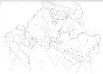 Minotaur Battle by KillustrationStudios