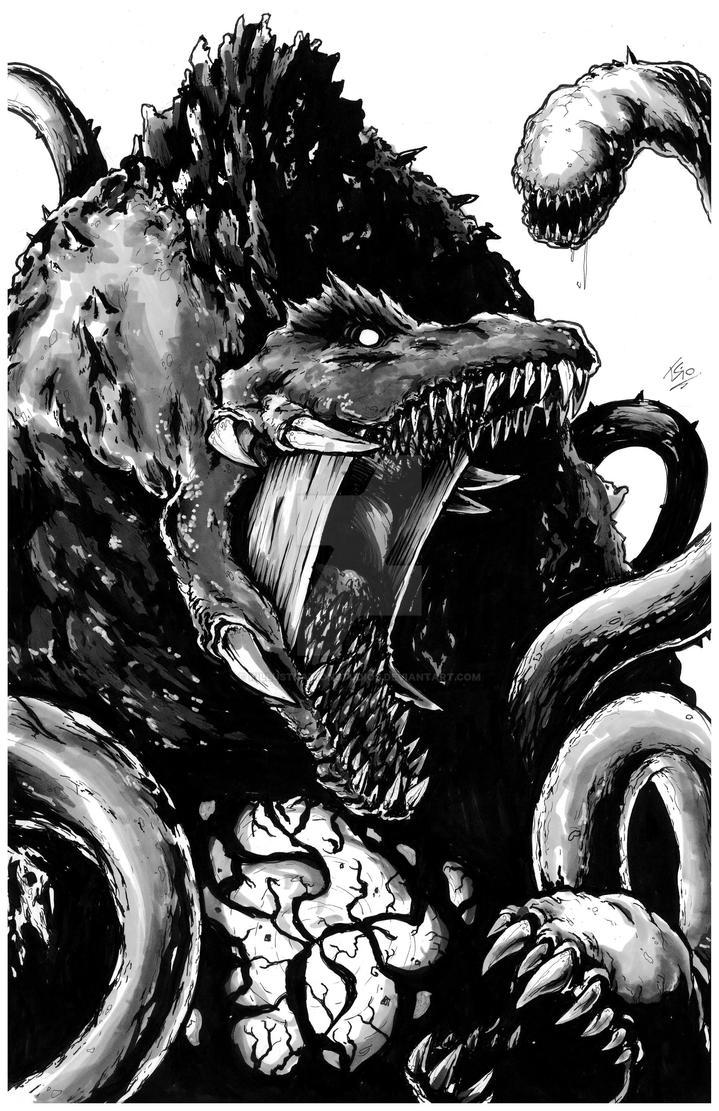 Biollante Greyscale for Gfan by KillustrationStudios
