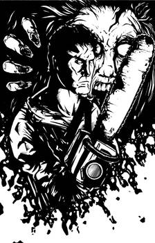 Evil Dead Ash BW Pinup