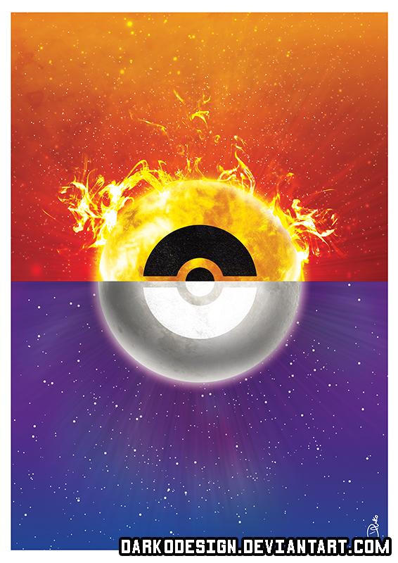 Pokemon Sun and Moon inspired Yin/Yang Poster by DarkoDesign