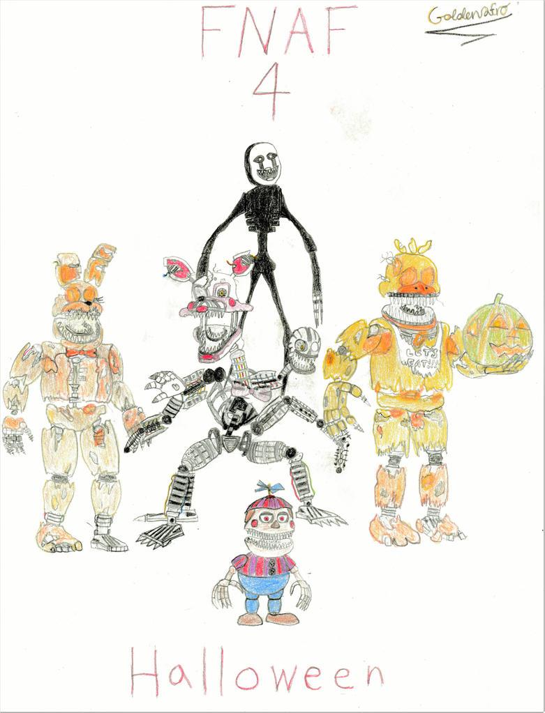FNAF) FNAF 4 Halloween Animatronics (Colored) by goldenafro on ...