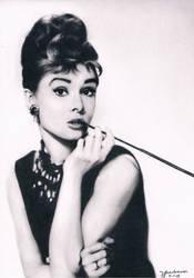 Audrey Hepburn Charcoal Painting