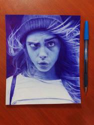 Cara Delevigne Ballpoint pen drawing