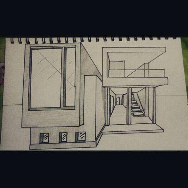 Modern house 1 point perspective by threetreesart on Drawing modern houses