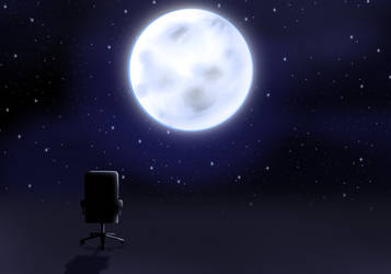 Chair Kun looking at the moon