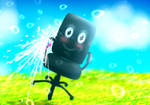 Chair kun sprays you with a water gun