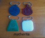 Avatar Laser-Cut Keychains: The Four Elements