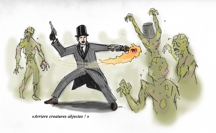 [ Dessins ] Artworks du Gentleman du Futur Gentleman_against_zombies_by_thewzart-d4iu26q