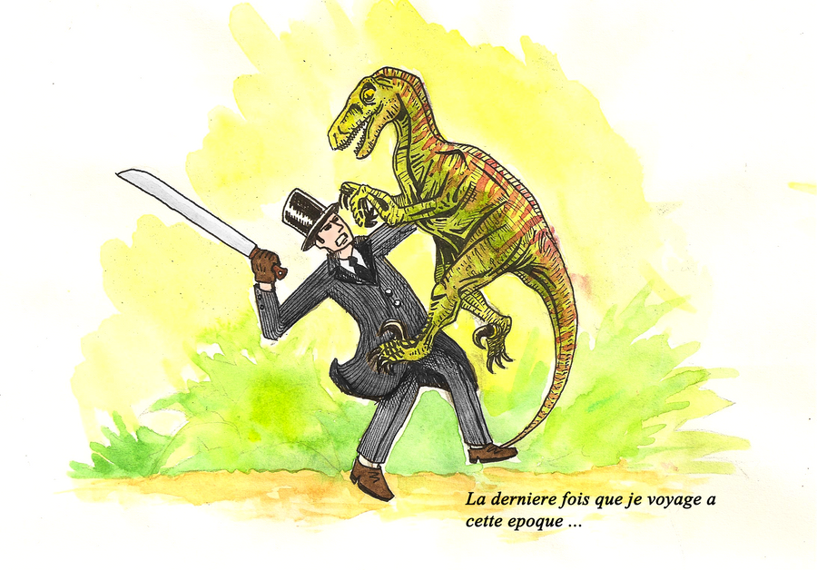 [ Dessins ] Artworks du Gentleman du Futur Gentleman_against_a_raptor_by_thewzart-d4j7hku