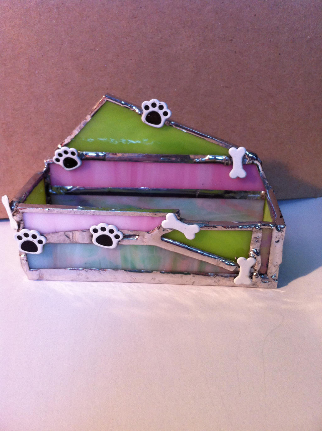 Stained glass business card holder-dog groomer by Frigawesome on ...
