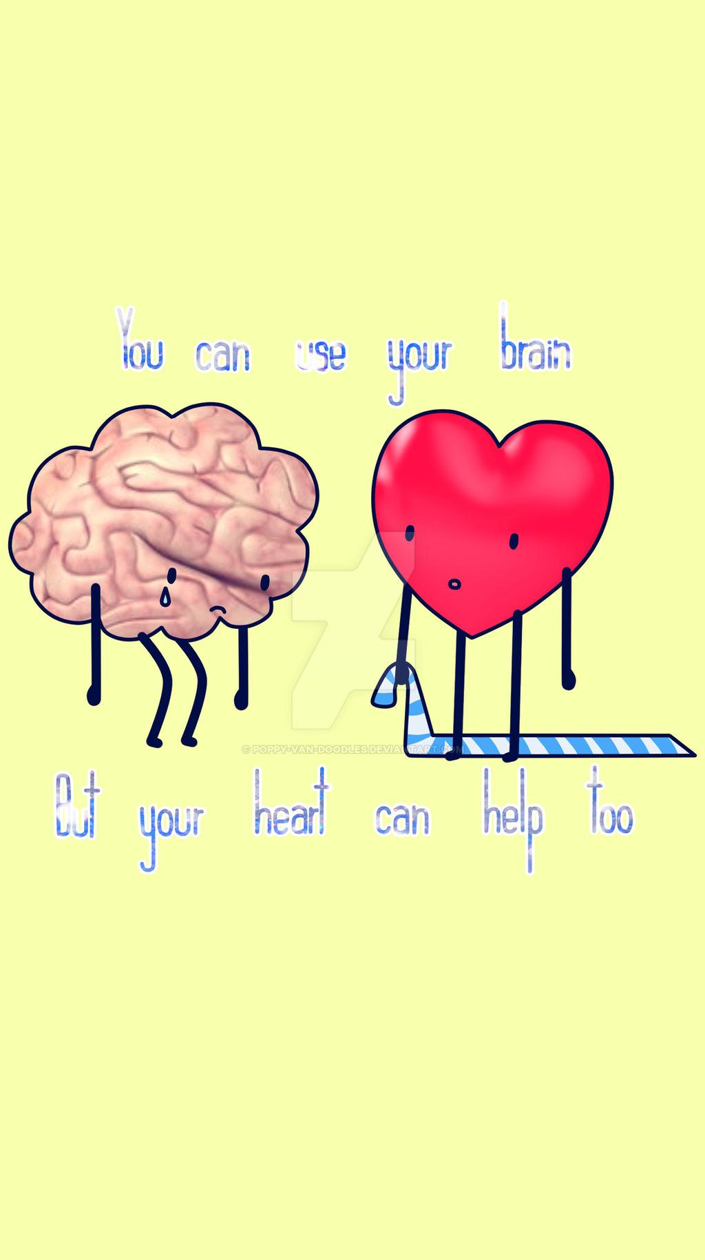Brain N Heart Phone Wallpaper By Poppy Van Doodles On