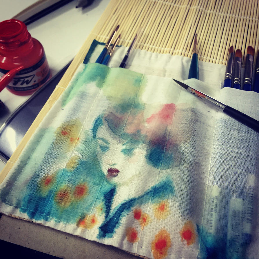 Watercolor on bamboo brush mat by milxart