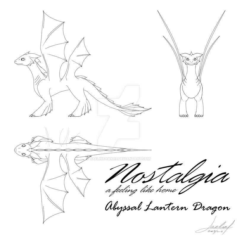 Abyssal Lantern Dragon Design Sheet by JaelinFawkes