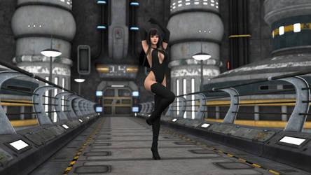 A Superheroine in a Plain Black Suit