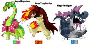 MEGA- Meganium-Tymphlosion-Feraligatr