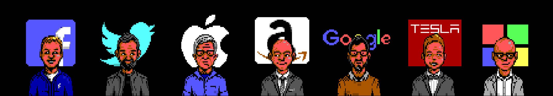 8-bit Tech CEOs Portraits by enzo