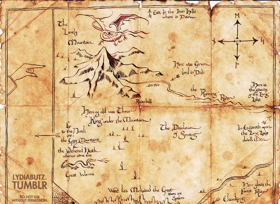 thrors map the hobbit replica by