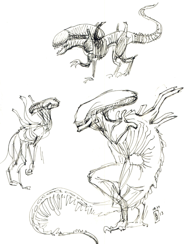 Xenomorph sketches by girl on the moon for Xenomorph coloring pages