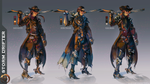 Wild West Fantasy Gunslinger - Costume Concept Art by Madomon