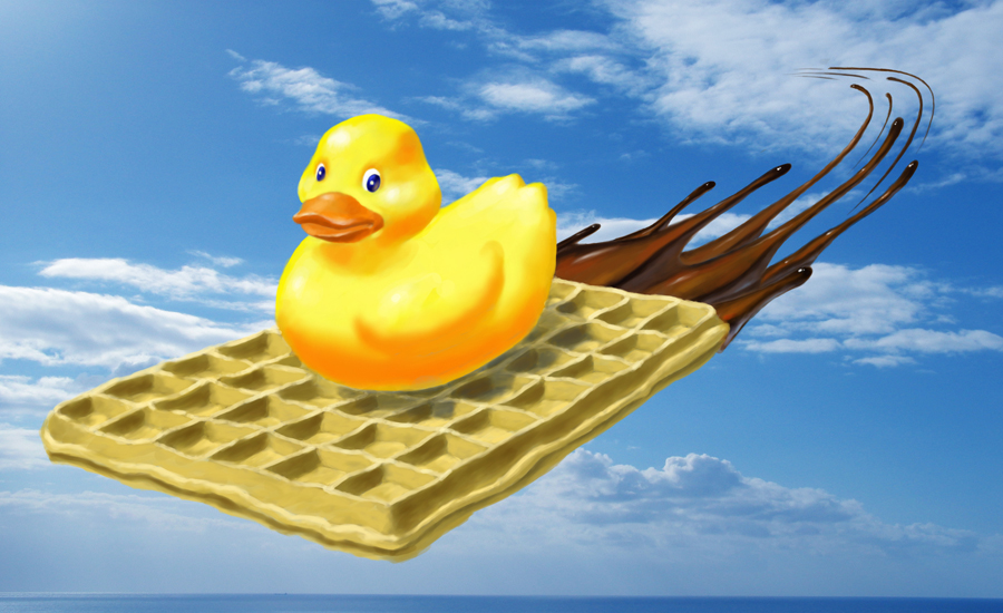 Duck On a Flying Waffle by R-Valle