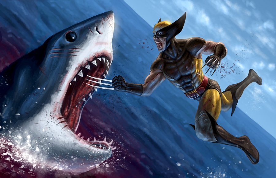 Wolverine VS Shark by R-Valle