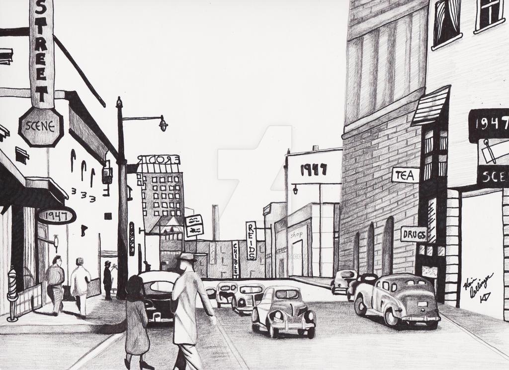1947 Street Scene by ilikecokekd