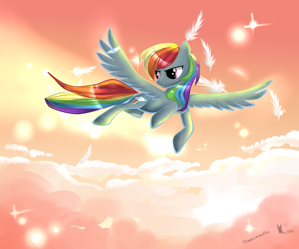 Above the clouds rainbow dash by AquaGalaxy