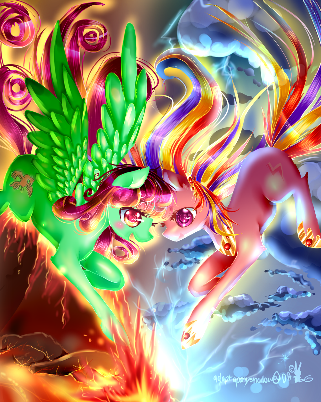 Lighting and fire (MLP) by AquaGalaxy