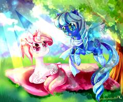 Pony friends by AquaGalaxy