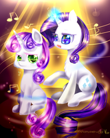 Rarity and Sweetie belle (MLP) I'm always here by AquaGalaxy