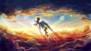 MLP rainbow dash : Golden sunset by AquaGalaxy