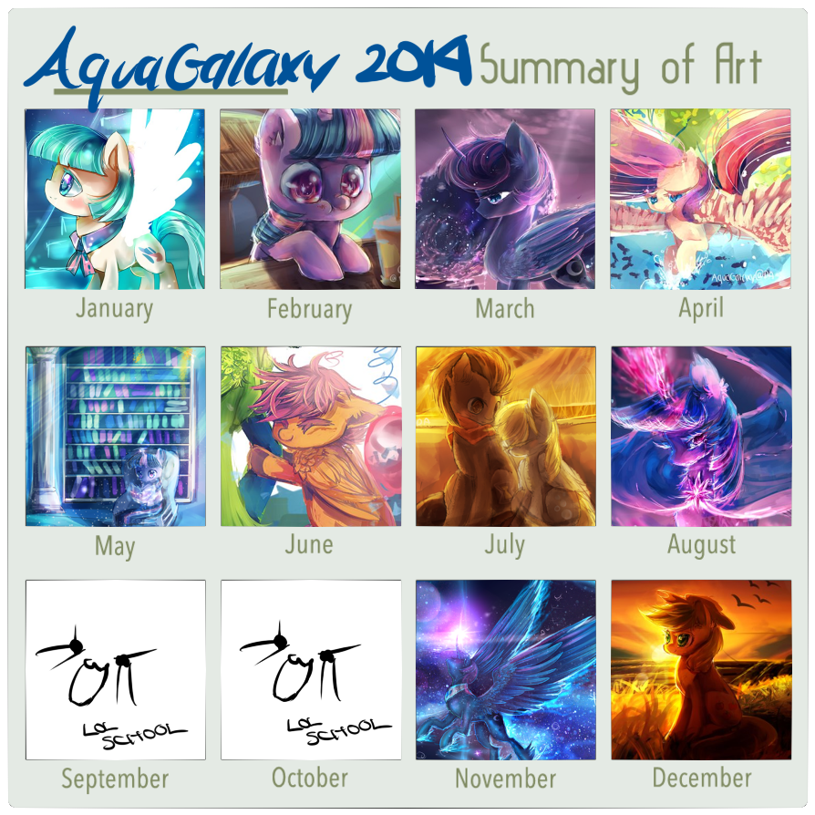 2014 art summary by AquaGalaxy