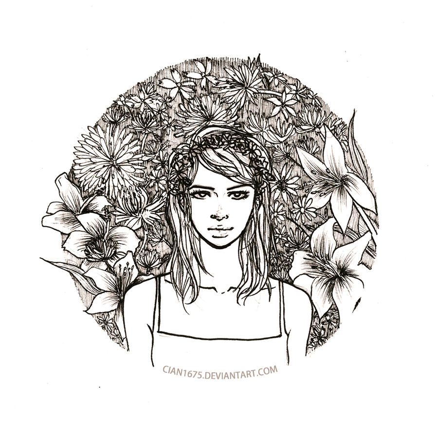 Girl with flower crown drawing - photo#47