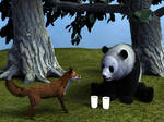 The Fox and the panda are friends