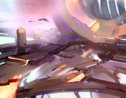 Sci-fi station in warm palette