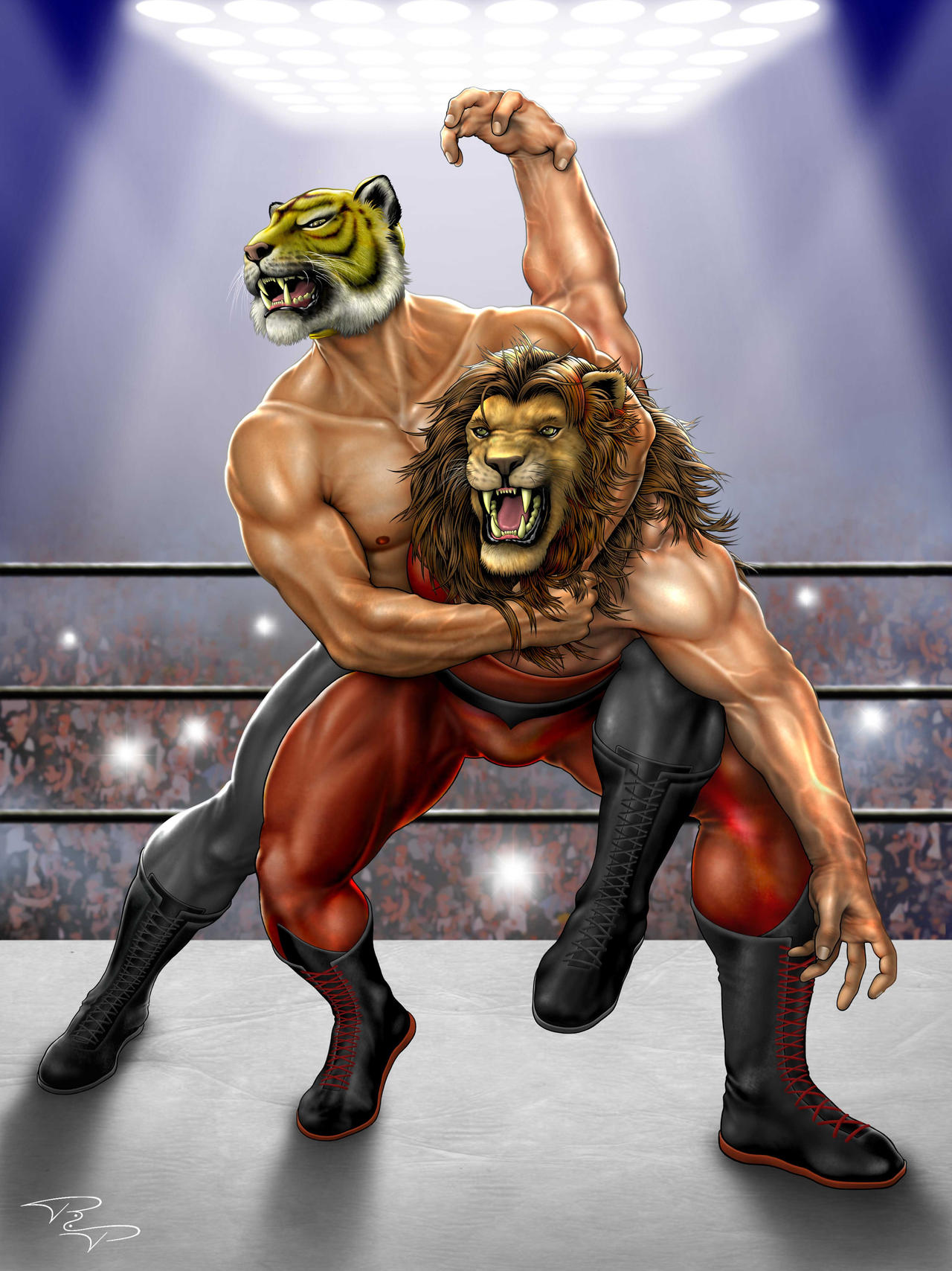 images library for tiger mask  Tiger_Mask_VS_Lion_Man_by_Richeart