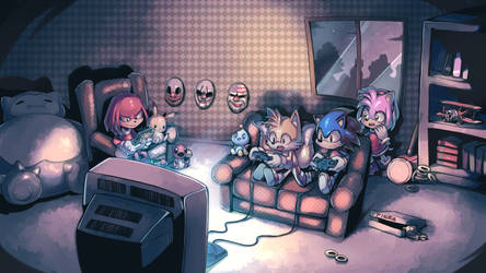Sonic's gaming night commission by Parororo