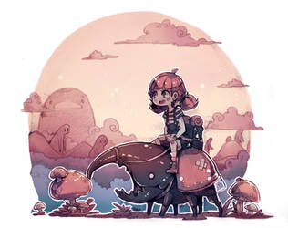 Cerise and the beetle by Parororo