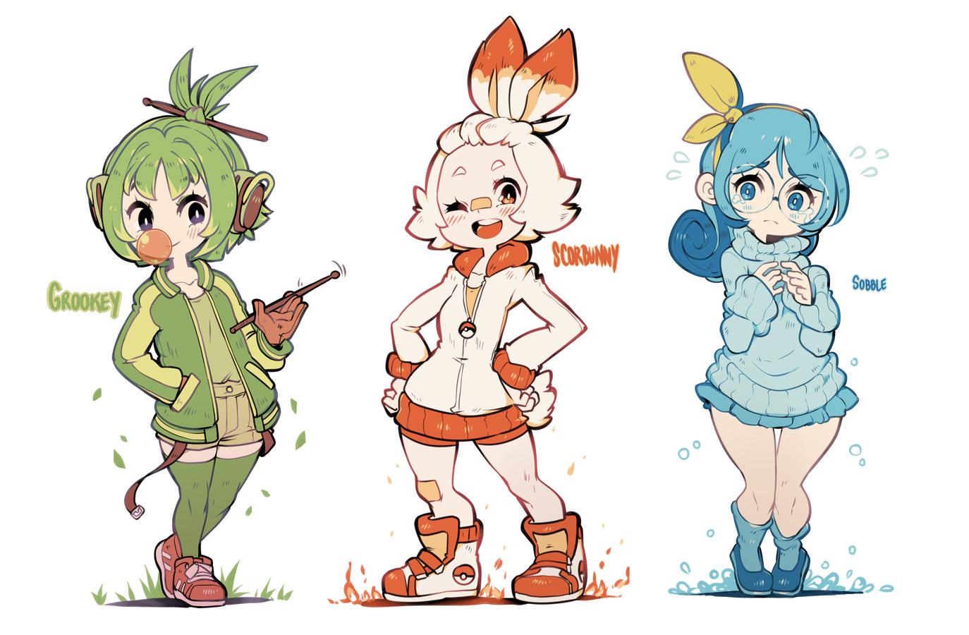 Pokemon Ss 3 Starters Gijinkas By Parororo On Deviantart