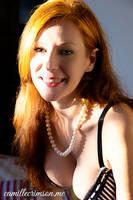 Camille Crimson - Striped Bra and Pearl Necklace