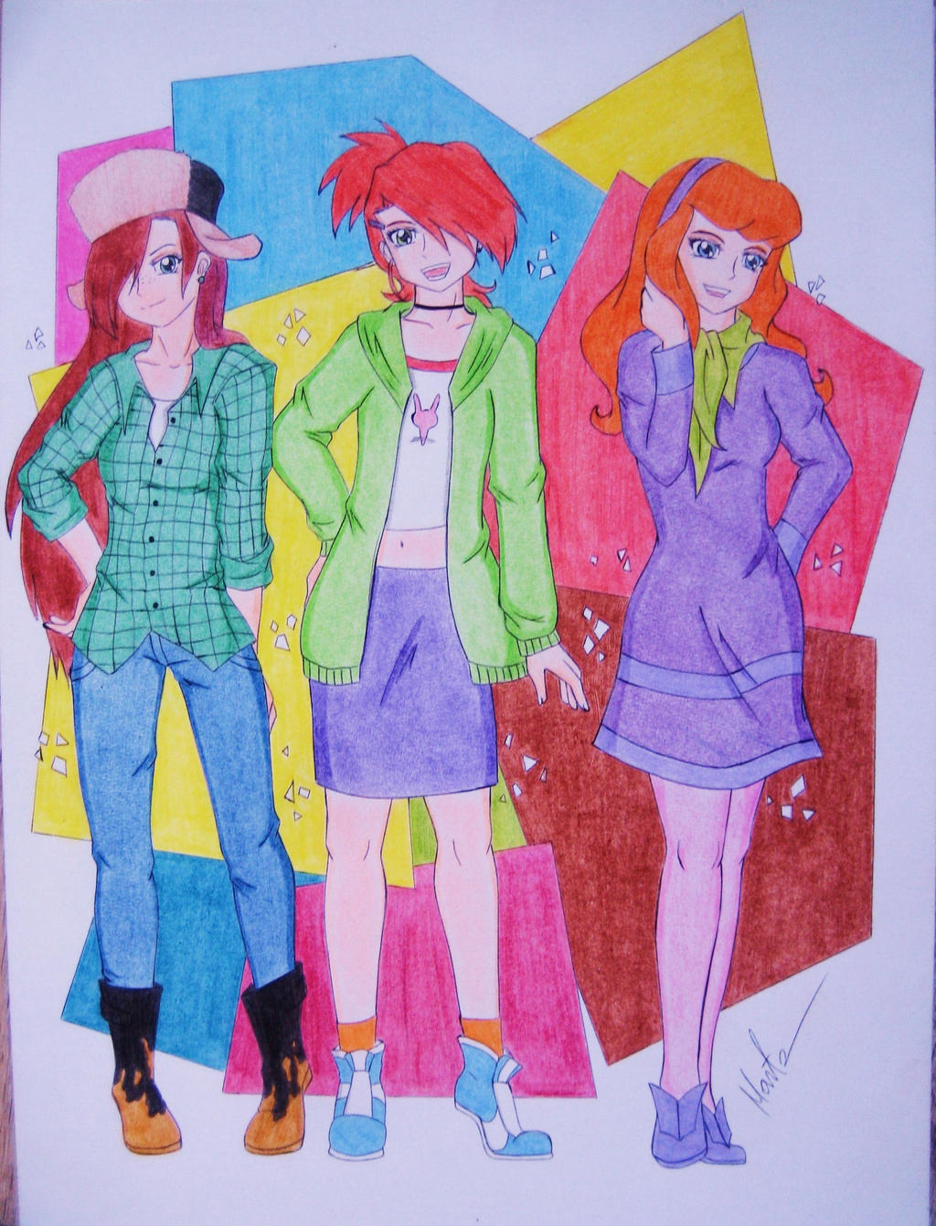 Three Redhead Girls by Natsu-chan-94