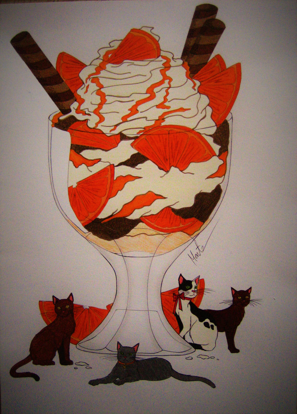 Dessert with cats by Natsu-chan-94