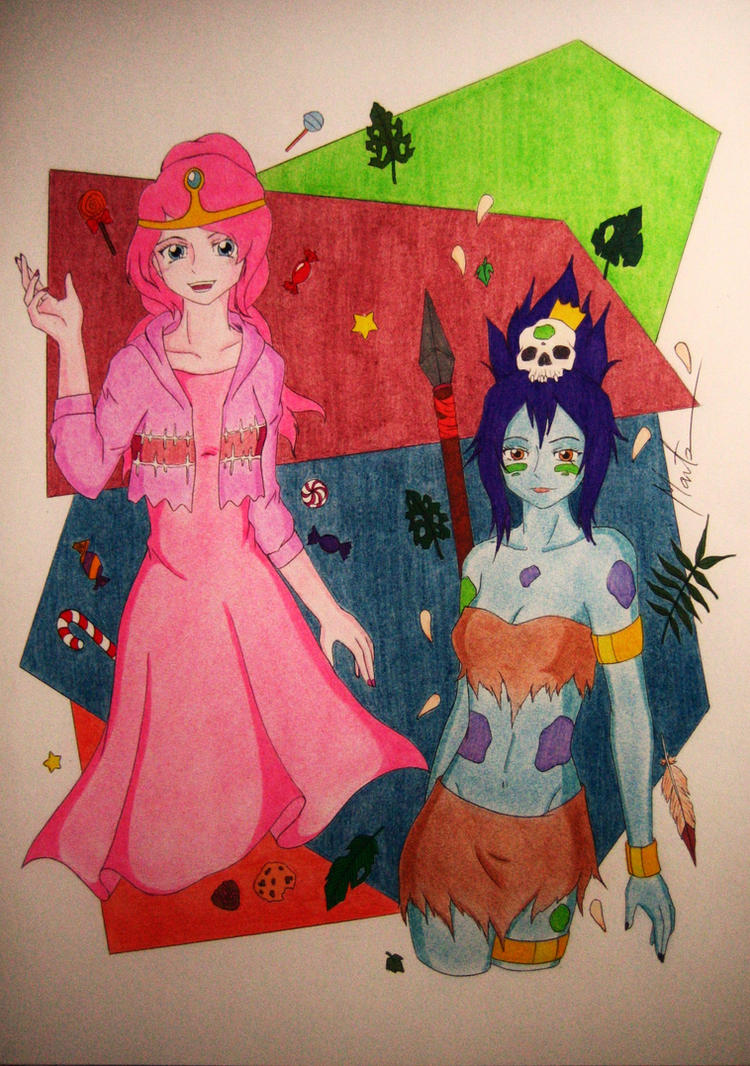 Princess Bubblegum and Jungle Princess by Natsu-chan-94