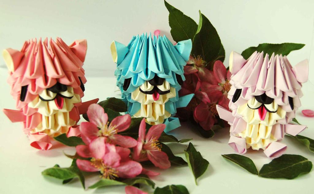 3D origami Bears by dounyatsu